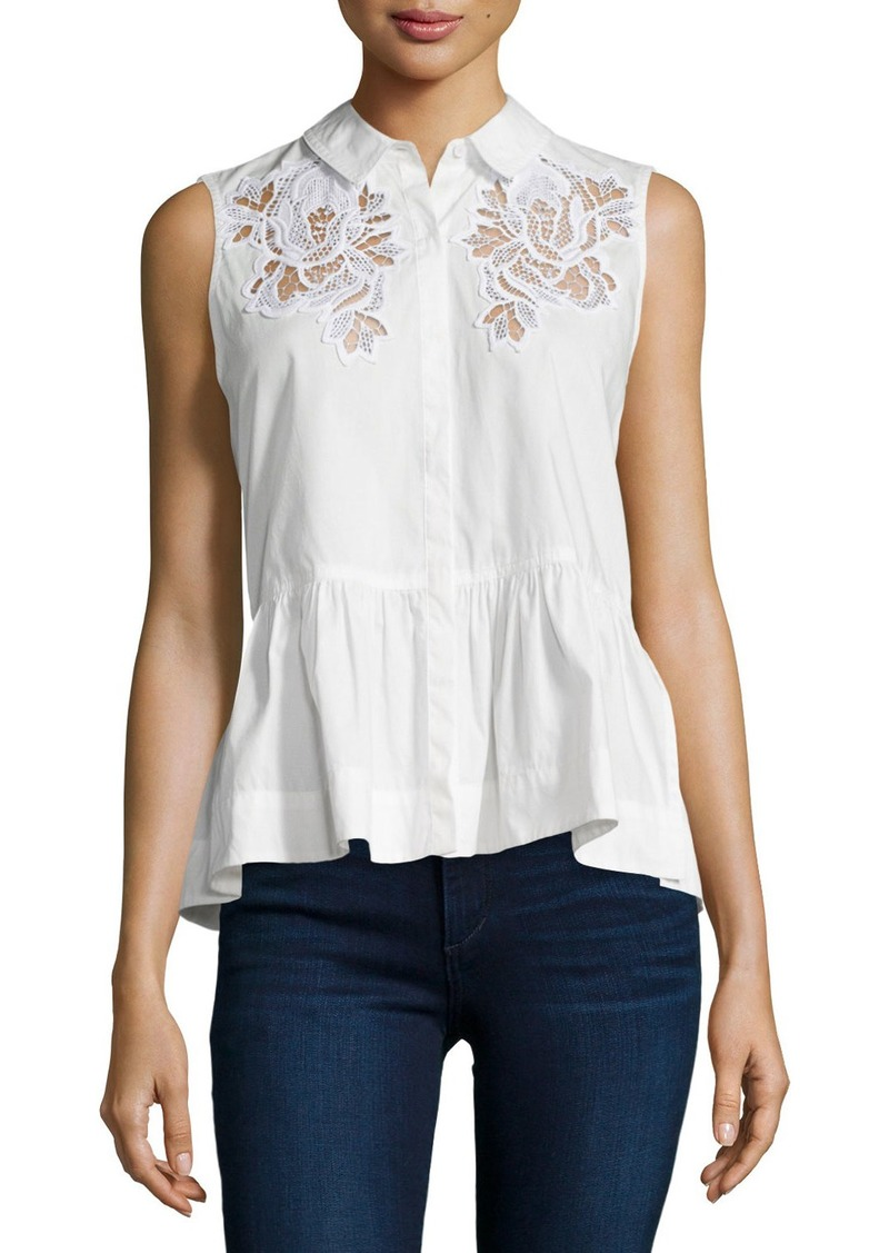 Rebecca Taylor Embroidered Sleeveless Peplum Top