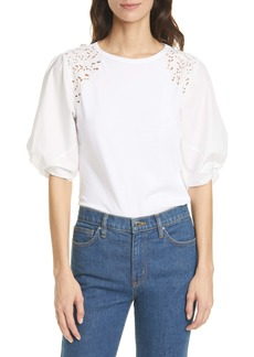 Rebecca Taylor Embroidered Twist Sleeve Top