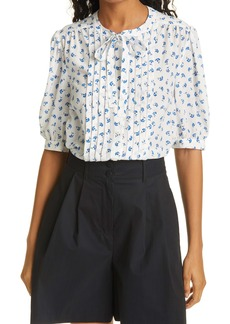 Rebecca Taylor Emmy Floral Puff Sleeve Silk Blouse