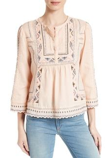 Rebecca Taylor Esme Embroidered Cotton Top