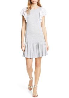Rebecca Taylor Eyelet Sleeve Jersey Minidress