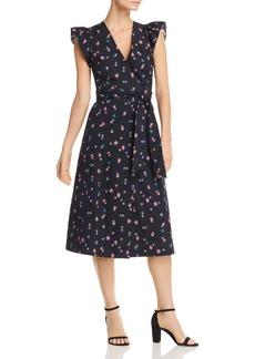 Rebecca Taylor Farren Flower-Print Wrap Midi Dress