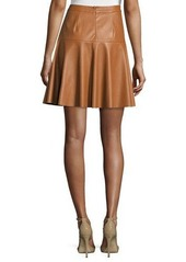 Rebecca Taylor Faux-Leather A-Line Skirt