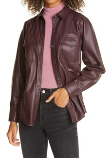 Rebecca Taylor Faux Leather Belted Jacket