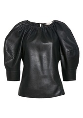 Rebecca Taylor Faux Leather Puff Sleeve Blouse