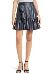 Rebecca Taylor Faux Leather Ruffle Skirt