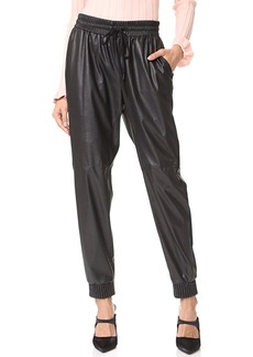 Rebecca Taylor Faux Leather Track Pants