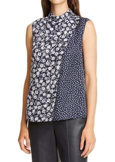 Rebecca Taylor Floral & Dot Drape Silk Blend Top