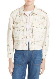 Rebecca Taylor Floral Denim Jacket