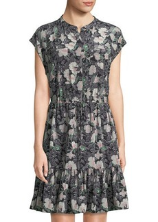 Rebecca Taylor Floral Eclipse Cap-Sleeve Georgette Dress