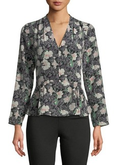 Rebecca Taylor Floral Eclipse V-Neck Silk Blouse