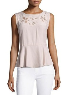 Rebecca Taylor Floral-Embroidered Sleeveless Silk Top
