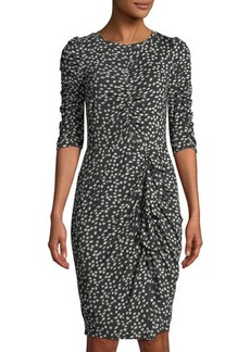 Rebecca Taylor Floral Fizz Ruched Midi Dress