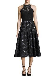 Rebecca Taylor Floral Jacquard Lace Midi Dress