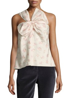 Rebecca Taylor Floral-Jacquard One-Shoulder Bow Top