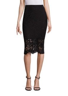 Rebecca Taylor Floral Lace Pencil Skirt