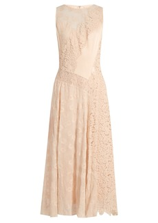 Rebecca Taylor Floral-lace satin dress
