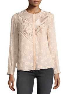 Rebecca Taylor Floral Lace Silk-Blend Top