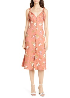 Rebecca Taylor Floral Lita Tie Detail Silk Blend Midi Dress