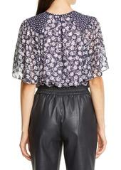 Rebecca Taylor Floral Mix Silk Blend Top