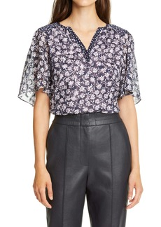 Rebecca Taylor Floral Mix Silk Blend Top