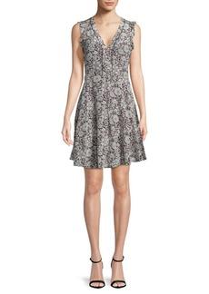 Floral-Print A-Line Silk Dress