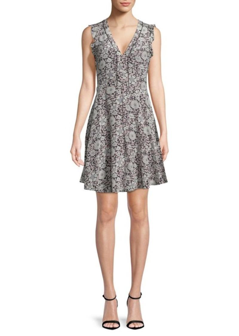 Rebecca Taylor Floral-Print A-Line Silk Dress