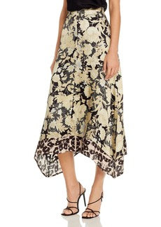 Rebecca Taylor Floral Print Asymmetrical Hem Midi Skirt