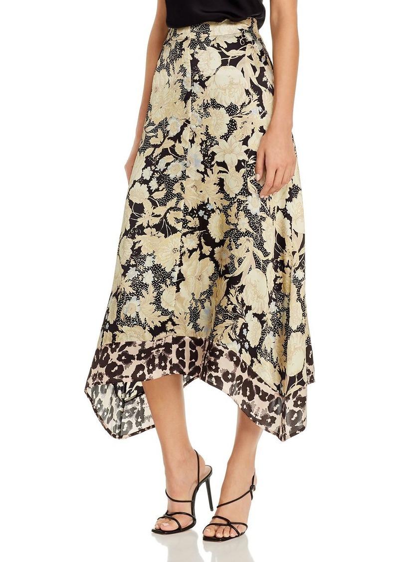 Rebecca Taylor Floral-Print Asymmetrical-Hem Midi Skirt