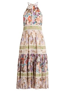 Rebecca Taylor Floral-print halterneck cotton-blend dress