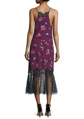 Rebecca Taylor Floral-Print Lace-Combo Slip Dress