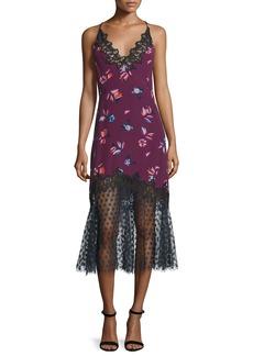 Rebecca Taylor Floral-Print Lace-Combo Slip Dress