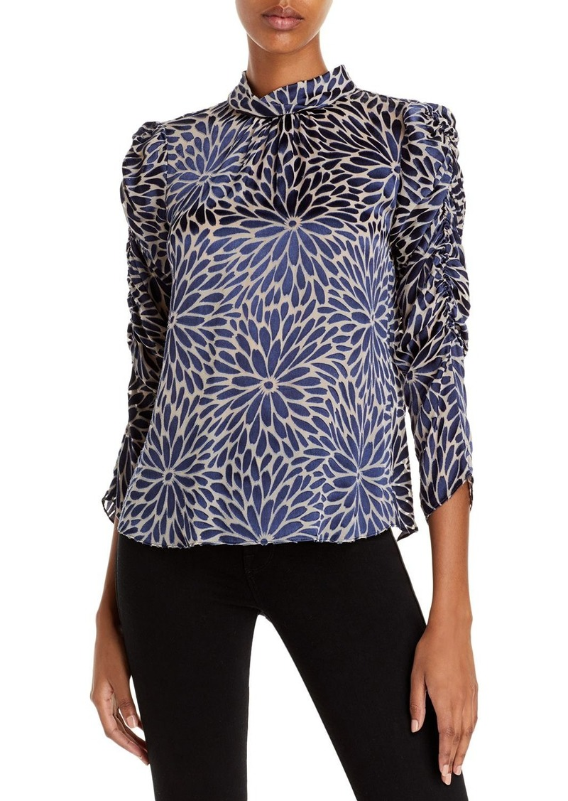 Rebecca Taylor Floral Print Ruched Top