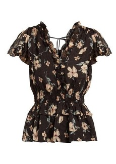 Rebecca Taylor Floral-print ruffled silk-blend blouse