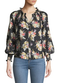 Rebecca Taylor Floral-Print Silk Button-Front Top