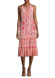 Rebecca Taylor Floral-Print Tie-Up Dress