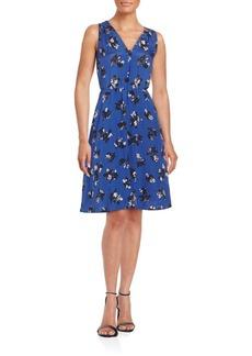 Rebecca Taylor Floral Printed Sleeveless Silk Dress
