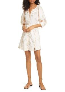 Rebecca Taylor Floral Puff Sleeve Longline Dress