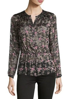 Rebecca Taylor Floral Shadow Long-Sleeve Devore Top
