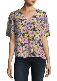 Rebecca Taylor Floral Silk V-Neck Top