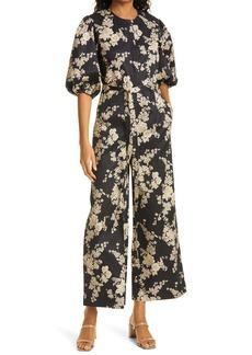 Rebecca Taylor Floral Tie Waist Cotton Jumpsuit