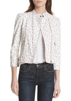 Rebecca Taylor Floral Vine Leather Jacket