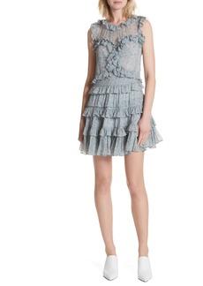 Rebecca Taylor Floral Vine Ruffle Silk Dress