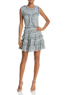 Rebecca Taylor Floral Vine Ruffled Silk Dress