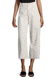 Rebecca Taylor Floral Vine Twill Wide Leg Pants