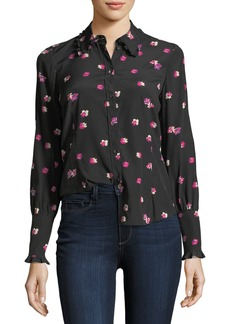 Rebecca Taylor Floriana Button-Front Long-Sleeve Silk Blouse