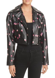 Rebecca Taylor Floriana Cropped Leather Motorcycle Jacket