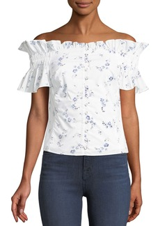 Rebecca Taylor Francine Floral Off-the-Shoulder Button-Front Top