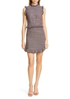 Rebecca Taylor Frayed Ruffle Tweed Dress