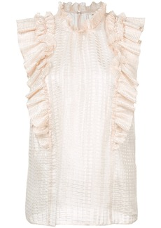 Rebecca Taylor frill-embroidered blouse - Pink & Purple